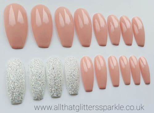 Glossy Peach Nude & Crystal Silver