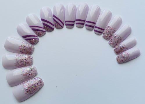 Lilac Lace,Pink Diamond 💎 & Nail Art Lines