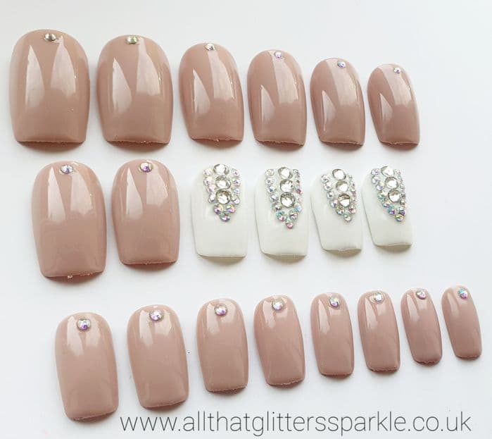 Nude & White Crystal Nails