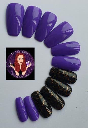 Vivid Violet & Black/Gold Marble