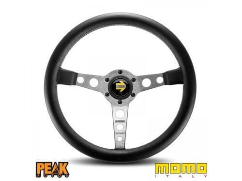 Momo Prototipo Silver 350mm Leather Steering Wheel