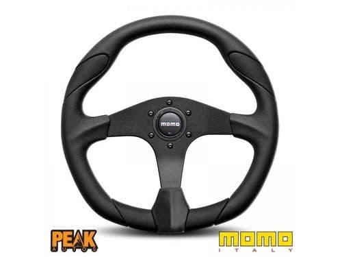 Momo Quark 350mm Black Leather Steering Wheel made in Italy