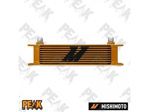Mishimoto Universal 10 Row Oil Cooler -10AN Fittings GOLD