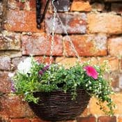 12in Natural Rattan Hanging Basket - 30cm - (sold empty ready to fill)