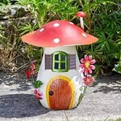 29.5cm Colourful Metal Fairy House - The Toadstool House