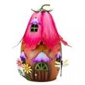 30cm Colourful Metal Fairy House - The fuchsia  House