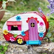 32cm - Colourful Metal Fairy House - The Caravan Cottage
