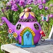 32cm  Colourful Metal Fairy House - The Purple Teapot House