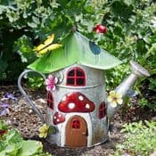32cm Colourful Metal Fairy House - The Watering Can Cottage