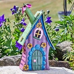 Colourful Metal Fairy House - The Purple Wonky Cottage.