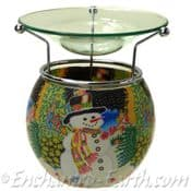 Benaya- Hand Crafted Light Glass Nightlight & Oil Burner- The Snowman Chorus