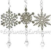 Champagne Snowflakes  with Diamond  Drops - Hanging  Decoration  - Pack of 3