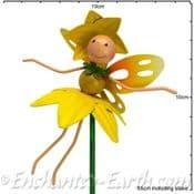 Daffodil  Fairy - Fairy Kingdom  - Metal Flying Fairy on 50cm  metal stake