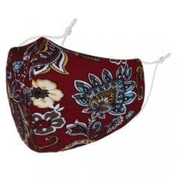 Designer Cotton Face Mask -Burgundy Floral Paisley - Face Covering - Reusable.