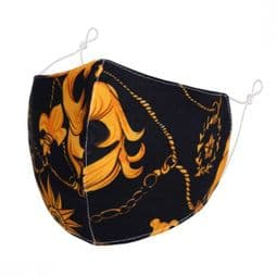Designer Cotton Face Mask - Flora Chains & Ropes  - Face Covering - Reusable.