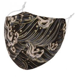 Designer Cotton Face Mask - Golden Waves - Face Covering - Reusable.