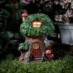 Elfin Oak - Solar - LED Colour changing Fairy House.