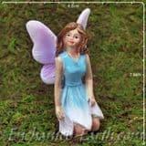 Enchanted Woodland Fairy - Kneeling fairy with blue  dress