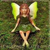 Enchanted Woodland Fairy - Sitting fairy with green  dress