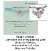 Equilibrium -Double Message Bracelet - Happy Birthday -Bee