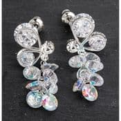 Equilibrium -Platinum Plated- Butterfly Crystal Cluster Earrings