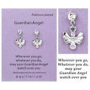 Equilibrium - Platinum Plated Sentiment Earrings - Guardian Angel