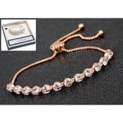 Equilibrium - Rose Gold Plated  Pretty Crystals Friendship Bracelet