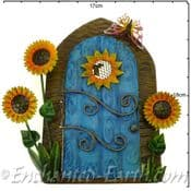 Extra Large Fairy Kingdom Opening Blue  Metal Fairy Door with sunflowers & Butterfly- 17cm