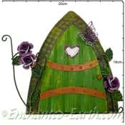 Extra Large Fairy Kingdom Opening Green  Metal Fairy Door with Vintage Roses & Butterfly - 17.5cm