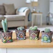 Fairy Door  Pixie Pots -  6cm  -  4 designs