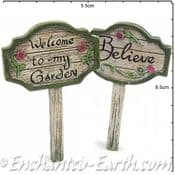 Fairy Garden Woodland Sign Post - Welcome to my garden.