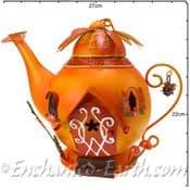 Fairy Kingdom Fairy House - Large Orange Metal Teapot Cottage