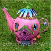 Fairy Kingdom Fairy House - Large Pink Metal Teapot Cottage