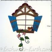Fairy Kingdom  Metal Pixie Window - Arched window with blue shutters -12cm