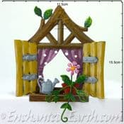 Fairy Kingdom  Metal Pixie Window - Square brown window with plant & watering can - 11cm