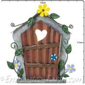 Fairy Kingdom Opening Metal Fairy Door - Yellow & Lilac Flowers