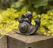 Fairy & Snail  - Antique Bronzed Resin Garden Ornament - 8cm