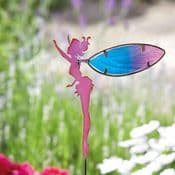 Fairy Wings Metal Garden Stake - Pink & Blue Fairy with Glass Wings- 78cm tall
