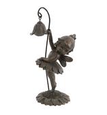 Fairy with lantern on Sunflower  - Antique Bronzed Resin Garden Ornament - 15cm
