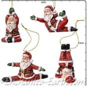Festive Santa Decorations - 4 x Yoga Santa's - 8cm