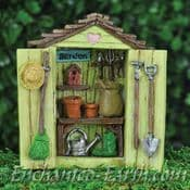 Fiddlehead -Miniature Garden Shed with Decorations & Opening Doors