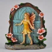 Floral Fairy Cottage Fairy Door  - Blue Door  with Fairy - 8cm