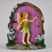 Floral Fairy Cottage Fairy Door Pink Door  with Fairy - 8cm