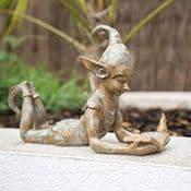 Garden Pixie - Bronze Effect - Lying Pixie - 35cm