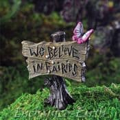 "Georgetown Fairy Garden Sign Post "" We Believe In Fairies"""