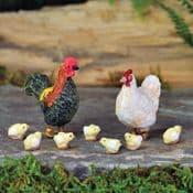 Georgetown Fiddlehead Chicken & Chick set (set of 8)
