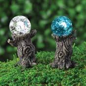 Georgetown Fiddlehead Fairy Garden Miniature Tree Stump Gazing Ball