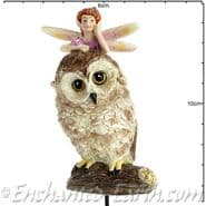 Georgetown - Fiddlehead - Large Woodland Owl with Fairy - 10 cm