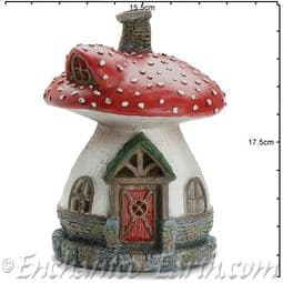 Georgetown Fiddlehead - Muscaria fairy toadstool house - 18cm.