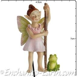 Georgetown - Fiddlehead - Swamp Fairy on a stake - Froggie and Flossy - 7cm.